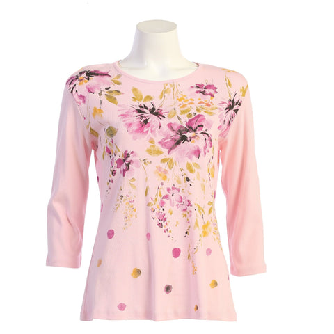 "Jess & Jane ""Gloria"" Abstract Floral Print Top in Pink - 14-1577"