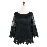 Damee Floral Cut-Out Lace Top in Black - 9047-BLK - Size S Only