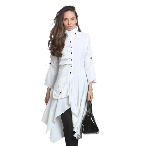 IC Collection Ultra Modern Long Parachute Jacket in White - 9128J-WHT