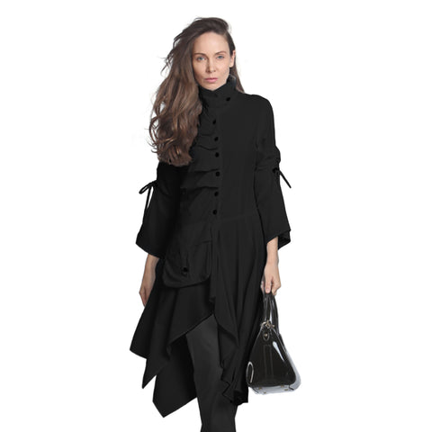 IC Collection Ultra Modern Long Jacket in Black - 9128J-BLK
