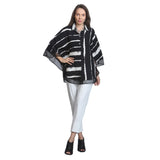 IC Collection Black & White Stripe Blouse 9147B-BK