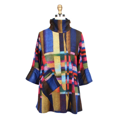 Damee Colorblock Knit Mock Neck Tunic in Multicolor - 9157-MLT