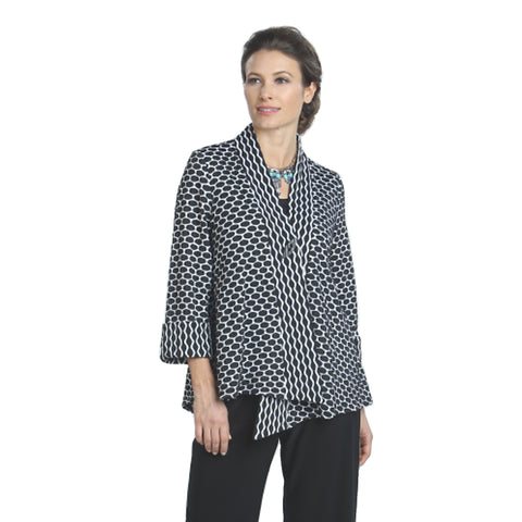 IC Collection Geo-Dot Asymmetric Jacket in Black & White - 9159J-BLK - Sizes S - L