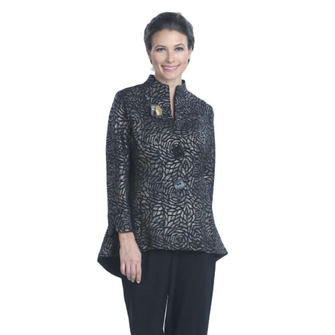 IC Collection Floral-Jacquard Jacket in Bronze/Black - 9162J-BRZ
