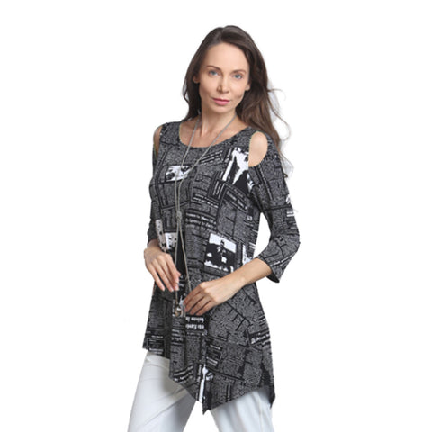 IC Collection News Print Tunic in Black & White - 9166T-BW