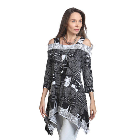 IC Collection Cold Shoulder Newsprint Tunic in Black & White - 9167T-BW - Size S Only