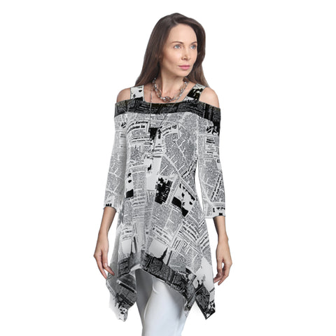 IC Collection Cold Shoulder Newsprint Tunic in Black/White - 9167T-WTBK