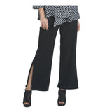 IC Collection Soft Knit Pull-On Side Slit Pant in Black - 9170P-BLK