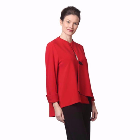 IC Collection Solid Asymmetrical Jacket in Red - 9173J-RED
