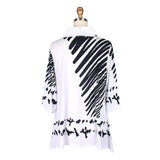 Damee Scribble Print Cowl Neck Tunic in White/Black  - 9174-WHT