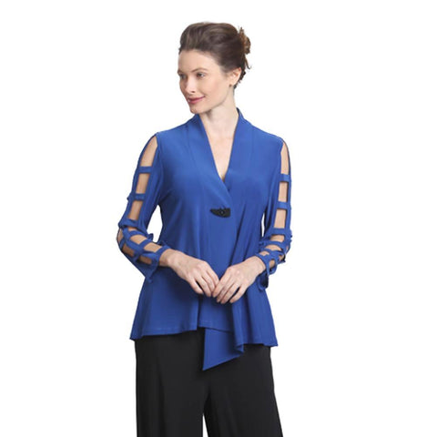 IC Collection Ladder Sleeve Cut-out Jacket in Blue - 9175J-BLU