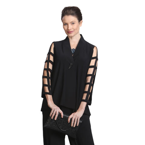 IC Collection Asymmetric Ladder Sleeve Jacket in Black - 9175J-BLK