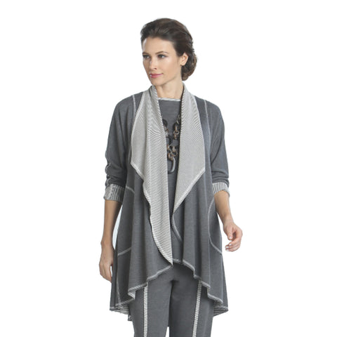 IC Collection Stretch Knit Cardigan & Tank in Gray - 9188J-GRY