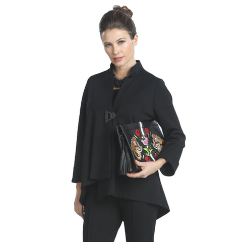 IC Collection Solid Asymmetric Jacket in Black - 9191J-BLK - Size S Only
