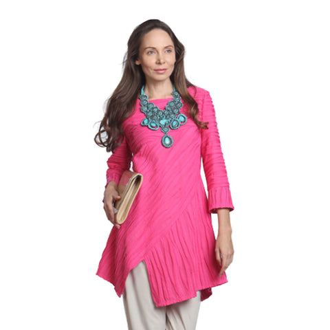 IC Collection Asymmetric Tunic in Pink - 9901T-PNK - Size XL Only