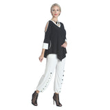 IC Collection Two Tone Open Shoulder Tunic in Black & White  9902T-BKWT