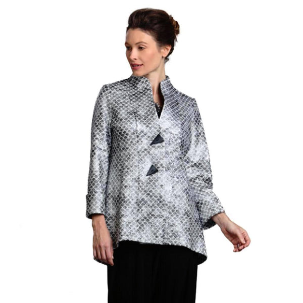 IC Collection Fitted High-Low Jacket in Grey, White & Black - 9950J-GRY - Size S Only