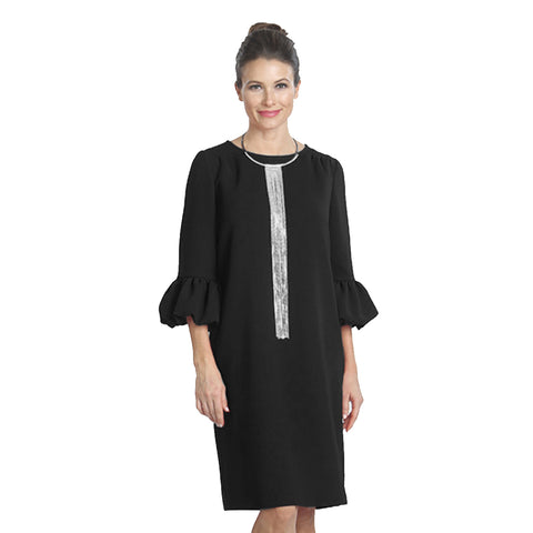 IC Collection Solid Shift Dress in Black - 9990D-BLK