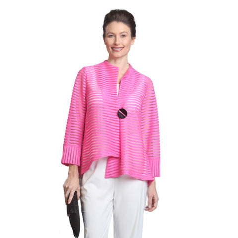 IC Collection Soutache Stripe Asymmetric Jacket in Pink - 9999J-PNK - Size S Only