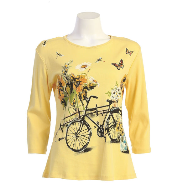 "Jess & Jane ""Merryland"" Abstract Floral Print Top in Lemon - 14-1580"