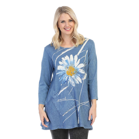 "Jess & Jane ""Chit Chat"" Mineral Washed Tunic with Linen Contrast - M62-1387"