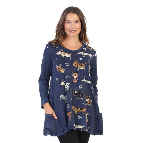 "Jess & Jane ""Critters"" Mineral Washed Cotton Tunic in Denim Blue - M50-1442"