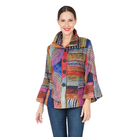 Damee NY Mixed Stripe Short Button Front Jacket in Multi - 4538 - Sizes L & XL