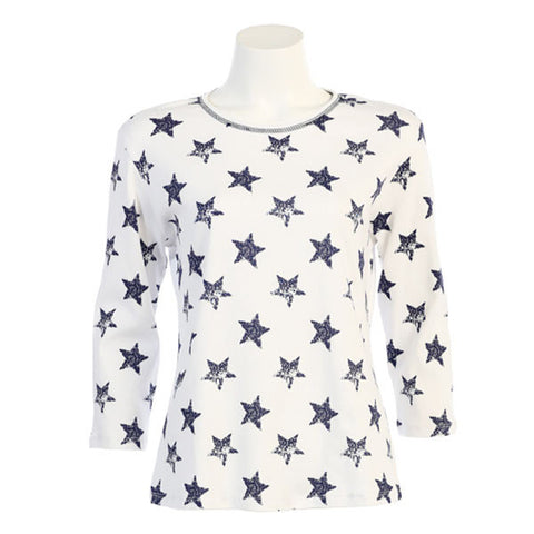 "Jess & Jane Cotton Tee Shirt - ""American Stars"" in Blue - 14900"