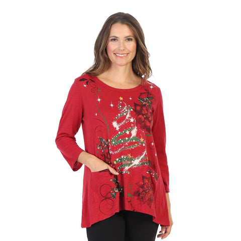 "BF Only ❤️ Jess & Jane ""Jolly Time"" Christmas Tunic Top with Pockets in Red/Multi - CS4-1446"