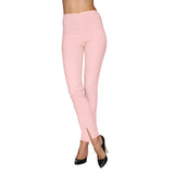 Mesmerize Pants with Front Ankle Slits and Front Zipper in Baby Pink - MA21-BBPK