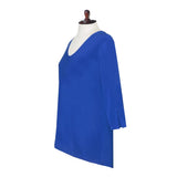 Valentina Signa Solid V Neck Hi-Low Tunic Top in Blue 15296-BLU