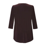 Valentina Signa  Solid V Neck Hi-Low Tunic Top in Brown - 15296- BRN