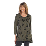 "Jess & Jane ""Circles"" Print High-Low Tunic in Olive - BT1-1139"