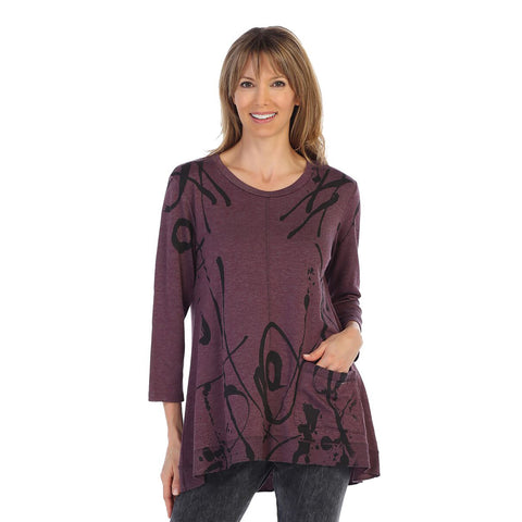 "Jess & Jane ""Shasta"" Swirl Print High-Low Tunic in Plum - BT1-1243 - All Sizes Now In!"