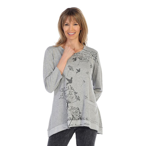 "Jess & Jane ""Dandelion"" Bird Print High-Low Tunic in Grey - BT1-1286"
