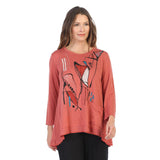"Jess & Jane ""Muse"" Abstract Soft Knit High-Low Tunic Top - BT1-1389 - Sizes S - XL"