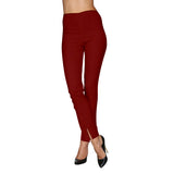 Mesmerize Pants with Front Ankle Slits and Front Zipper Front in Ruby - MA21-RUB