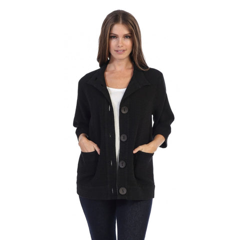 Focus Fashions Half Sleeve Waffle Jacket in Black - C-720-BLK