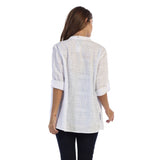 Focus Fashion Embroidered Cotton Voile Shirt in White  C737-WHT - Size XL Only