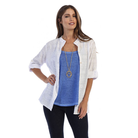 Focus Fashion Embroidered Cotton Voile Shirt in White  C737-WHT