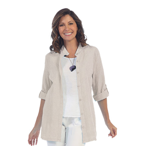 Focus Fashion Voile Embroidered Button Front Shirt in Oatmeal C737-OTL