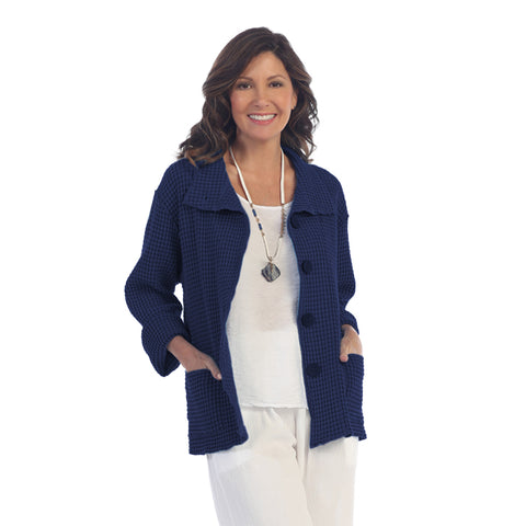 Focus Fashions Waffle Jacket in Navy - C602NAVY