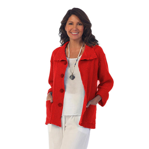 Focus Fashions Button Front Waffle Jacket in Red - C-602-RD