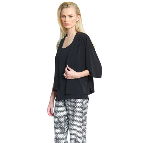 Clara Sunwoo Kimono Inspired Knit Cardigan in Black- CA19-BLK