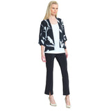 Clara Sunwoo Brush Print Waist Length Cardigan in Black/White - CA19P-BLK