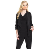 Clara Sunwoo Open Front Tuxedo Cardigan in Black- CA20-BK - Sizes XS, L, XL & 1X