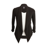 Clara Sunwoo Open Front Short Cardigan Jacket in Black- CA20-BK - Size XL Only