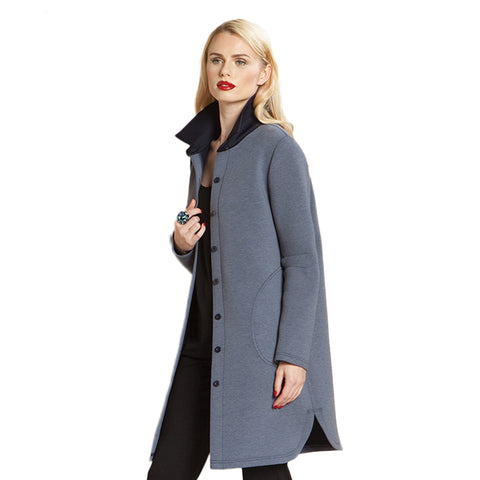 Clara Sunwoo Long Button Front Jacket in Blue - CA404-BLU - Size L Available!