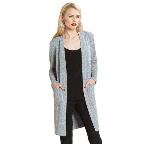 Clara Sunwoo Soft Sweater Knit Long Sleeve Cardigan in Grey - CA55W-GRY