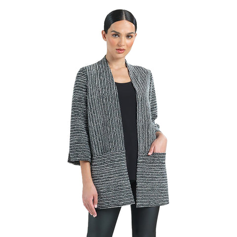 Clara Sunwoo Jacquard Open Front Cardigan in Black/White - CA58J - Sizes XS, S & M